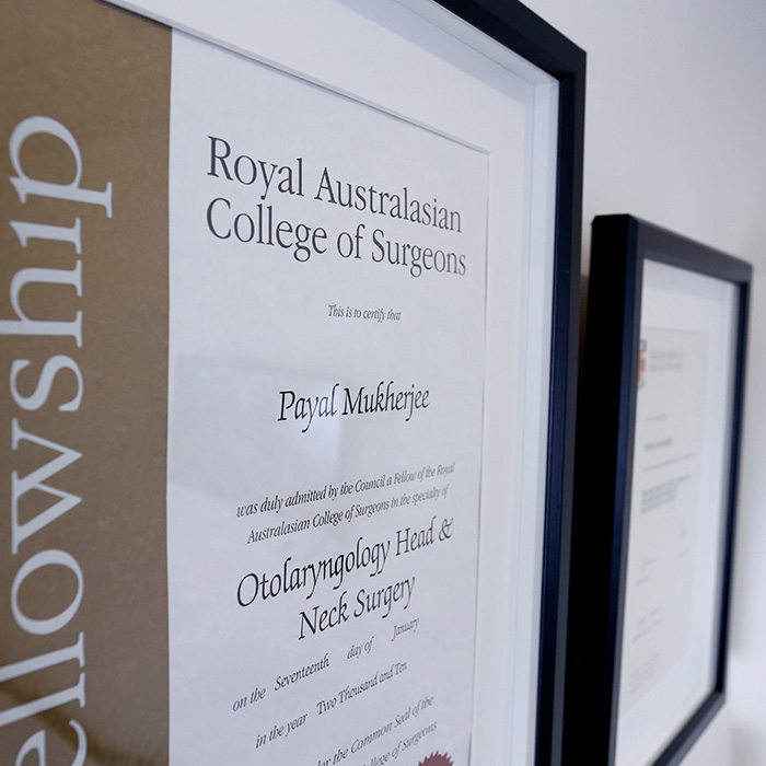 Dr Payal's Royal Australasian College of Surgeons Certificate